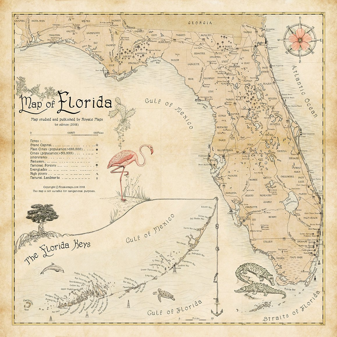 Florida State Map.Map Of Florida To Flamingo Or No Flamingo Royale Maps