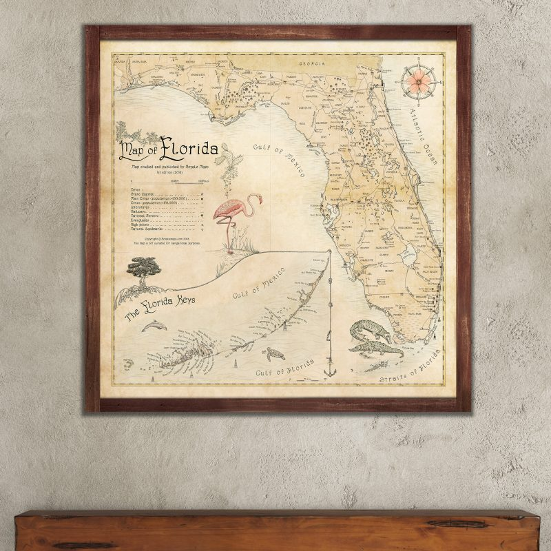 Beautiful Map of Florida State - Retro Style