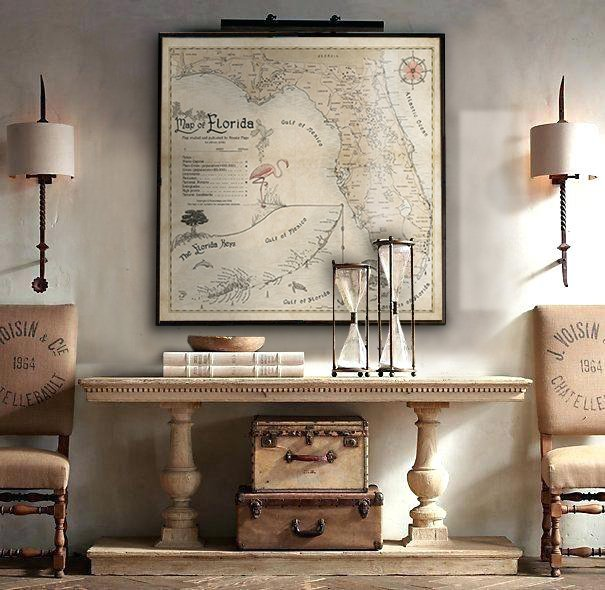Map of Florida in travel-themed living interior.
