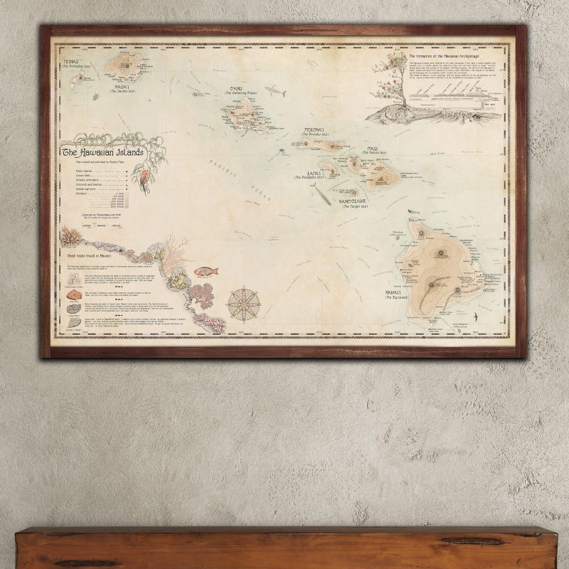 Beautiful Map of Hawaiian Islands - Retro Style
