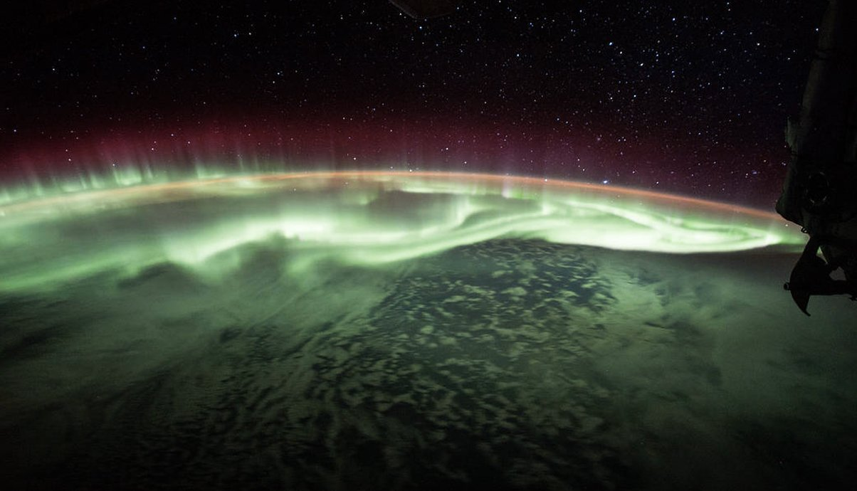 Northen lights or Aurora viewed from space